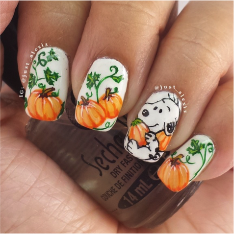 Fall Nail Art 2 Snoopy Autumn Design