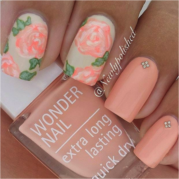 10 Gorgeous Floral Nail Art Designs Sparkly Polish Nails