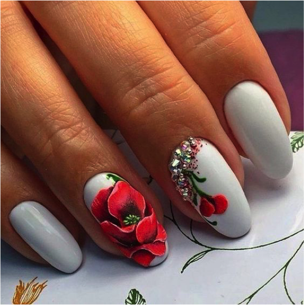 Floral Nail Art - 10 Gorgeous Floral Nail Art Designs - Sparkly Polish Nails