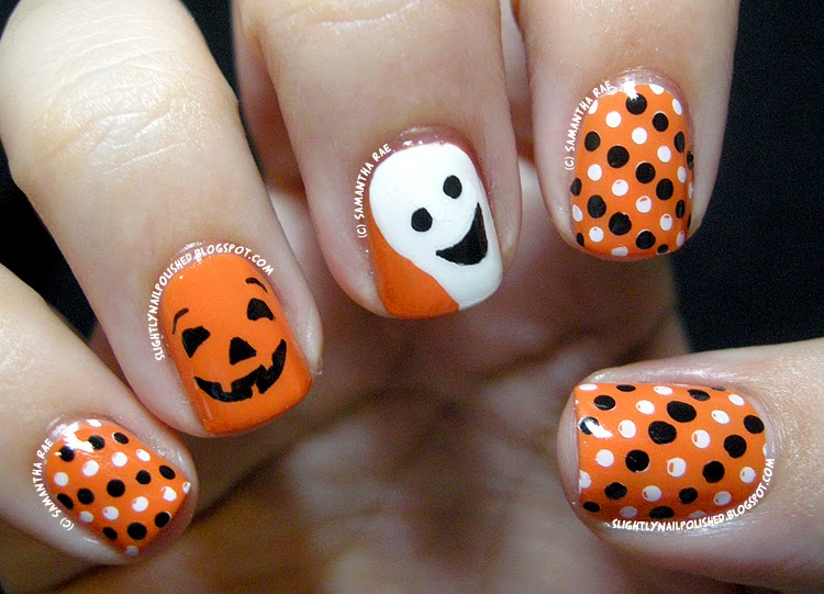 Halloween Themed Manicure Sparkly Polish Nails