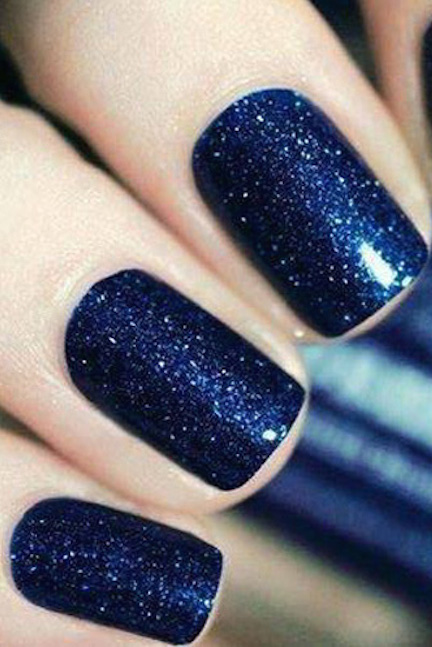 Top 10 christmas nail designs sparkly polish nails who says green and red are the only colors of the holiday a vibrant dark blue with shimmered with silver dust is a vibrant way to wear glitter for the prinsesfo Gallery