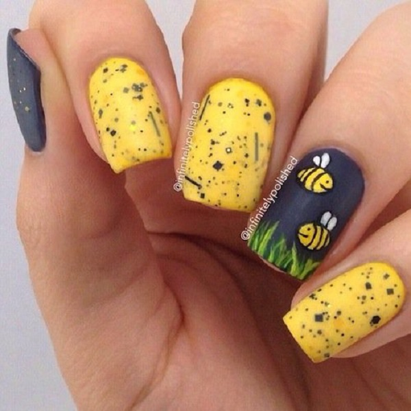 Yellow Nail Art Designs for Spring - Sparkly Polish Nails
