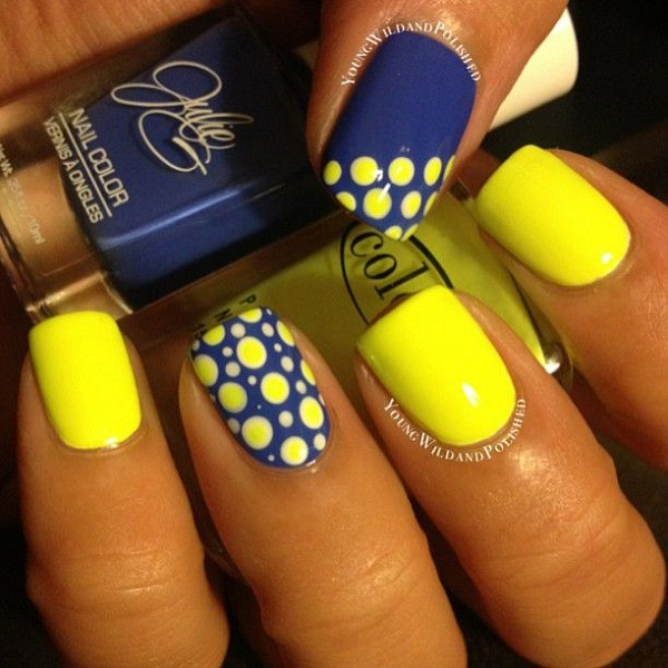 neon blue and yellow - Sparkly Polish Nails