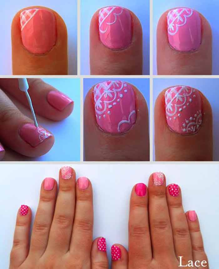 Pink Lace Nail Art Sparkly Polish Nails