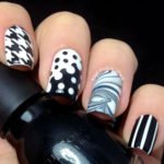 Black and White Mixed Patterns Nail Art