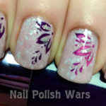 Glittery Plumeria Nail design